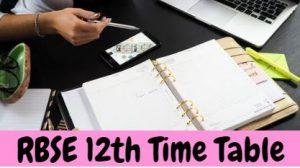 आरबीएसई 12वीं परीक्षा समय सारणी 2022